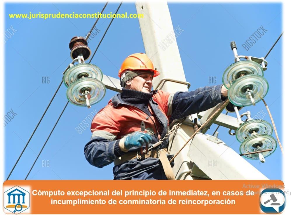 Cómputo excepcional del principio de inmediatez, en casos de incumplimiento de conminatoria de reincorporación laboral